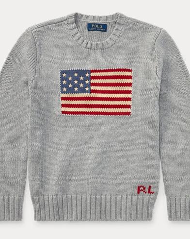 폴로 랄프로렌 보이즈 크루넥 스웨터 Polo Ralph Lauren Flag Cotton Crewneck Sweater,Andover Heather