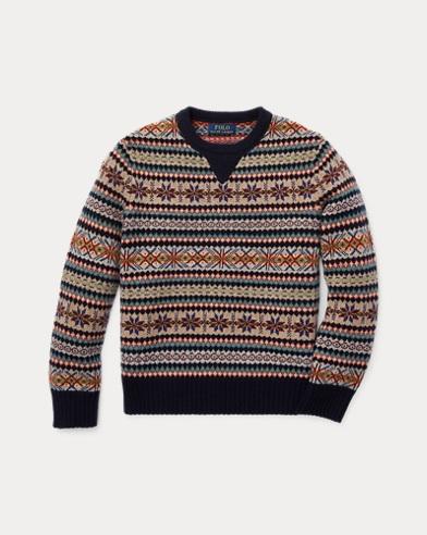 폴로 랄프로렌 Polo Ralph Lauren Fair Isle Wool-Blend Sweater,Navy Multi