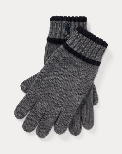 폴로 랄프로렌 보이즈 울 장갑 그레이 Polo Ralph Lauren Striped Merino Wool Gloves,Medium Grey Heather