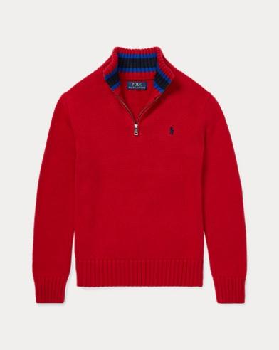 폴로 랄프로렌 보이즈 하프 집업 스웨터 레드 Polo Ralph Lauren Cotton Half-Zip Sweater,Park Avenue Red