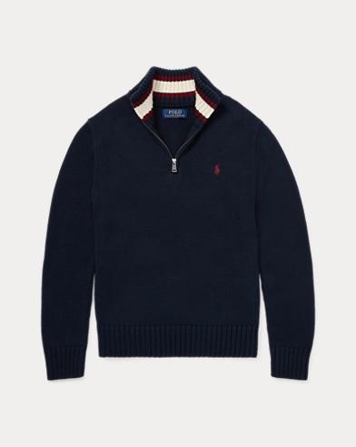 폴로 랄프로렌 보이즈 하프 집업 스웨터 네이비 Polo Ralph Lauren Cotton Half-Zip Sweater,Hunter Navy