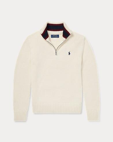 폴로 랄프로렌 보이즈 하프 집업 스웨터 크림 Polo Ralph Lauren Cotton Half-Zip Sweater,Guide Cream