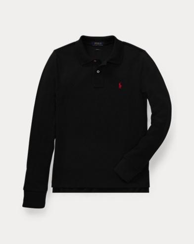 폴로 랄프로렌 보이즈 긴팔 카라티 블랙 Polo Ralph Lauren Cotton Mesh Polo Shirt,Polo Black