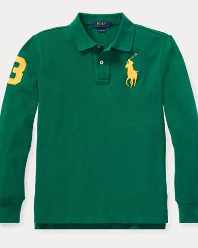 폴로 랄프로렌 보이즈 긴팔 카라티 그린 (클래식 핏) Polo Ralph Lauren Classic Fit Cotton Mesh Polo,Bush Green