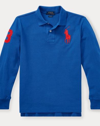 폴로 랄프로렌 보이즈 긴팔 카라티 블루 (클래식 핏) Polo Ralph Lauren Classic Fit Cotton Mesh Polo,Sapphire