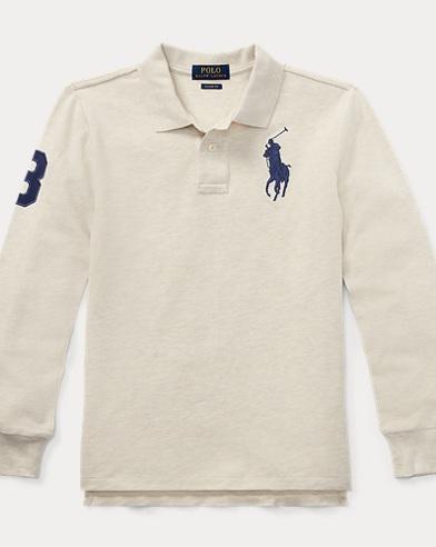 폴로 랄프로렌 보이즈 긴팔 카라티 샌드 (클래식 핏) Polo Ralph Lauren Classic Fit Cotton Mesh Polo,New Sand Heather