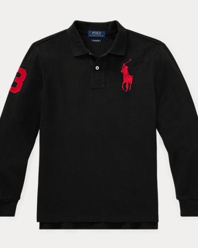 폴로 랄프로렌 보이즈 긴팔 카라티 블랙 (클래식 핏) Polo Ralph Lauren Classic Fit Cotton Mesh Polo,Polo Black