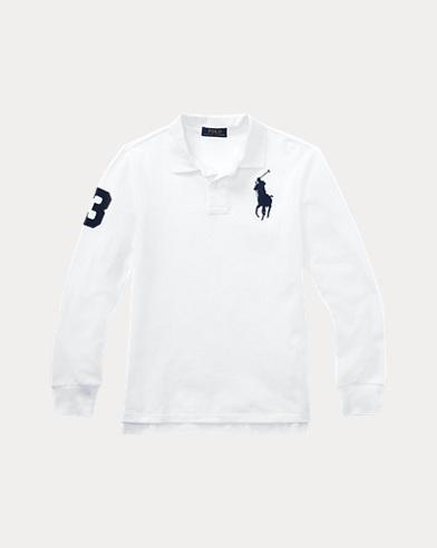 폴로 랄프로렌 보이즈 긴팔 카라티 화이트 (클래식 핏) Polo Ralph Lauren Classic Fit Cotton Mesh Polo,White