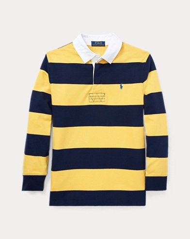 폴로 랄프로렌 보이즈 긴팔 카라티 옐로우 멀티 Polo Ralph Lauren Striped Jersey Rugby Shirt,Chrome Yellow Multi