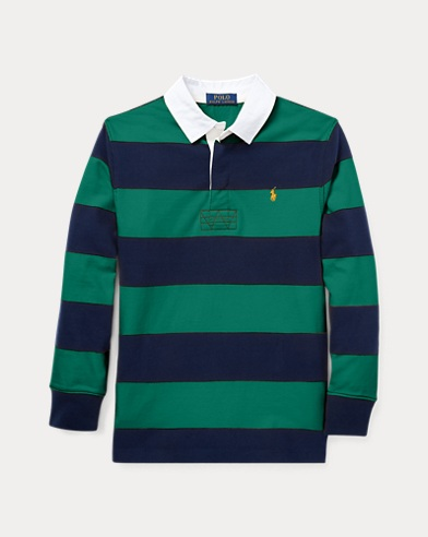 폴로 랄프로렌 보이즈 긴팔 카라티 그린 멀티 Polo Ralph Lauren Striped Jersey Rugby Shirt,Bush Green Multi