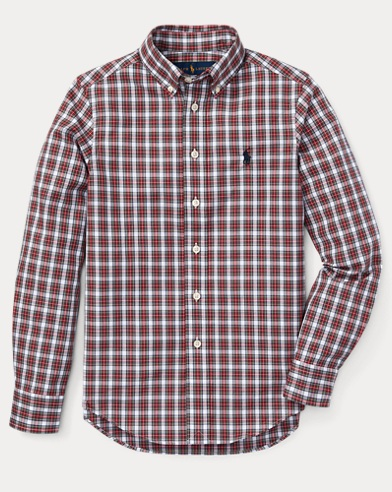 폴로 랄프로렌 보이즈 체크 셔츠 레드 Polo Ralph Lauren Slim Plaid Cotton Poplin Shirt,Red Multi