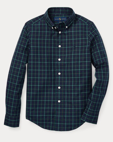폴로 랄프로렌 보이즈 체크 셔츠 네이비 Polo Ralph Lauren Slim Plaid Cotton Poplin Shirt,Navy Multi