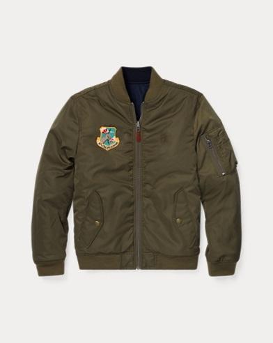 폴로 랄프로렌 Polo Ralph Lauren Reversible Twill Bomber Jacket,Olive/Navy
