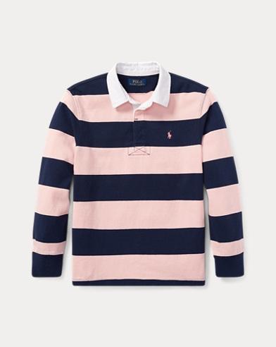 폴로 랄프로렌 보이즈 폴로셔츠 - 러브핑크, 스프링 네이비 Polo Ralph Lauren Pink Pony Striped Cotton Rugby