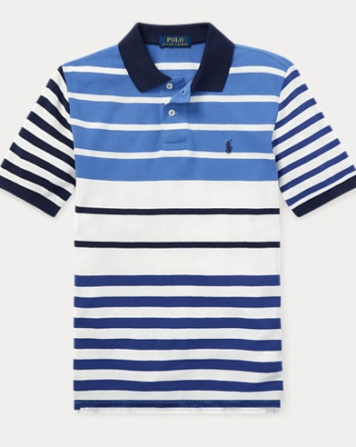폴로 랄프로렌 보이즈 반팔 카라티 화이트 멀티 Polo Ralph Lauren Featherweight Cotton Mesh Polo,Deckwash White Multi