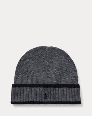 폴로 랄프로렌 보이즈 비니 그레이 Polo Ralph Lauren Striped Merino Wool Hat,Medium, Grey Heather
