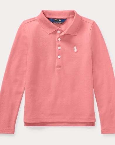 폴로 랄프로렌 여아용 긴팔 카라티 핑크 Polo Ralph Lauren Stretch Cotton Mesh Polo Shirt,Dolce Pink