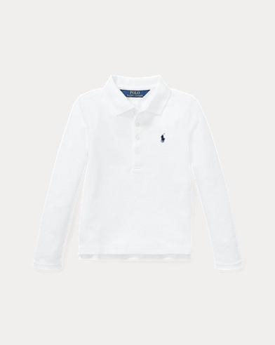 폴로 랄프로렌 여아용 긴팔 카라티 화이트 Polo Ralph Lauren Stretch Cotton Mesh Polo Shirt,White
