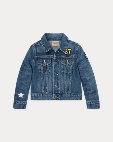 폴로 랄프로렌 여아용 데님 자켓 Polo Ralph Lauren Polo Bear Denim Jacket,Wash