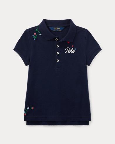 폴로 랄프로렌 여아용 반팔 카라티 네이비 Polo Ralph Lauren Embroidered Stretch Pique Polo,French Navy