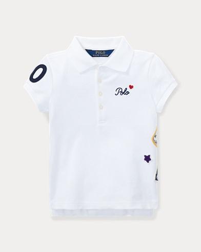 폴로 랄프로렌 여아용 반팔 카라티 화이트 Polo Ralph Lauren Patchwork Stretch Pique Polo,White