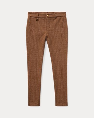 폴로 랄프로렌 여아용 스키니 팬츠 브라운/크림 Polo Ralph Lauren Herringbone Skinny Pant,Brown/Cream