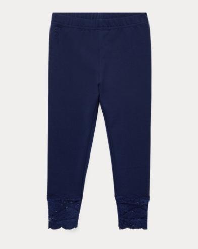 폴로 랄프로렌 여아용 레깅스 네이비 Polo Ralph Lauren Lace Jersey Legging,French Navy