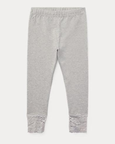 폴로 랄프로렌 여아용 레깅스 라이트 그레이 Polo Ralph Lauren Lace Jersey Legging,Light Grey Heather