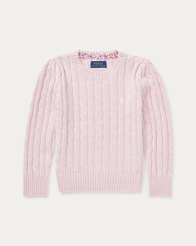 폴로 랄프로렌 여아용 꽈배기 스웨터 핑크 Polo Ralph Lauren Cable-Knit Cotton Sweater,Hint Of Pink