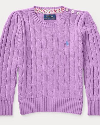폴로 랄프로렌 여아용 꽈배기 스웨터 Polo Ralph Lauren Cable-Knit Cotton Sweater,New Hibiscus