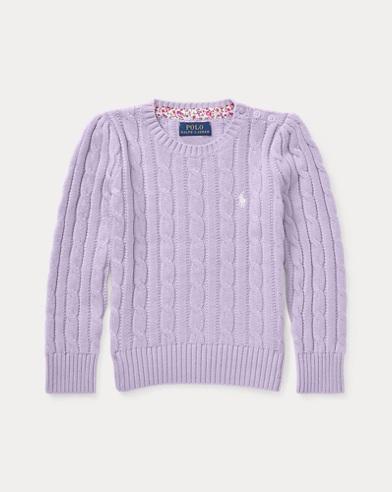 폴로 랄프로렌 여아용 꽈배기 스웨터 라일락 Polo Ralph Lauren Cable-Knit Cotton Sweater,French Lilac