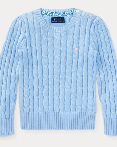 폴로 랄프로렌 여아용 꽈배기 스웨터 엘리트 블루 Polo Ralph Lauren Cable-Knit Cotton Sweater,Elite Blue