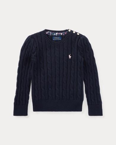 폴로 랄프로렌 여아용 꽈배기 스웨터 네이비 Polo Ralph Lauren Cable-Knit Cotton Sweater, Hunter Navy