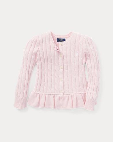 폴로 랄프로렌 여아용 가디건 핑크 Polo Ralph Lauren Cotton Peplum Cardigan,Hint Of Pink