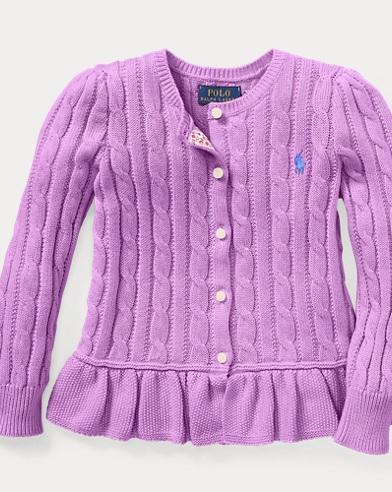 폴로 랄프로렌 여아용 가디건 Polo Ralph Lauren Cotton Peplum Cardigan,New Hibiscus