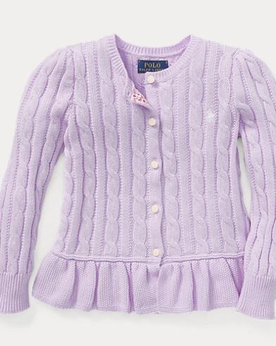 폴로 랄프로렌 여아용 가디건 라일락 Polo Ralph Lauren Cotton Peplum Cardigan,French Lilac