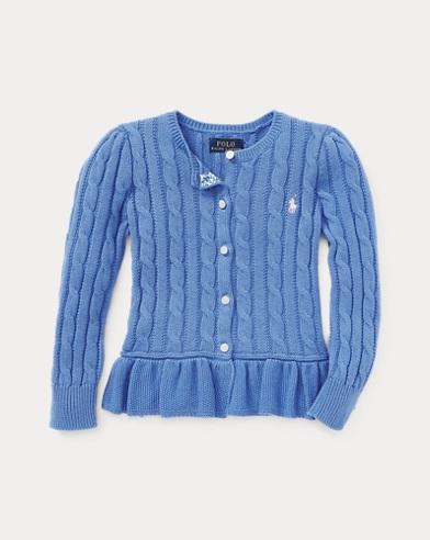 폴로 랄프로렌 여아용 가디건 블루 Polo Ralph Lauren Cotton Peplum Cardigan,Harbor Island Blue