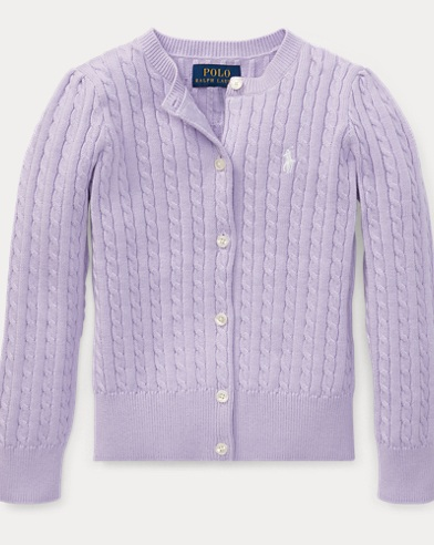 폴로 랄프로렌 여아용 꽈배기 라일락 Polo Ralph Lauren Cable-Knit Cotton Cardigan,French Lilac