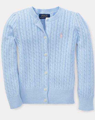 폴로 랄프로렌 여아용 꽈배기 엘리트 블루 Polo Ralph Lauren Cable-Knit Cotton Cardigan,Elite Blue