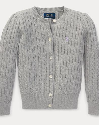 폴로 랄프로렌 여아용 꽈배기 가디건 라이트 그레이 Polo Ralph Lauren Cable-Knit Cotton Cardigan,Light Grey Heather