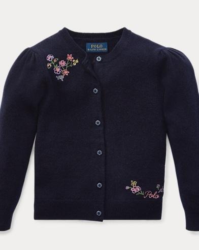 폴로 랄프로렌 여아용 가디건 네이비 Polo Ralph Lauren Floral-Embroidered Cardigan, Hunter Navy
