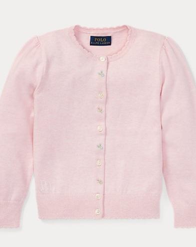 폴로 랄프로렌 여아용 가디건 핑크 Polo Ralph Lauren Floral Cotton Cardigan,Hint Of Pink Heather