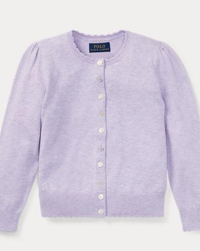 폴로 랄프로렌 여아용 가디건 라일락 Polo Ralph Lauren Floral Cotton Cardigan,French Lilac Heather