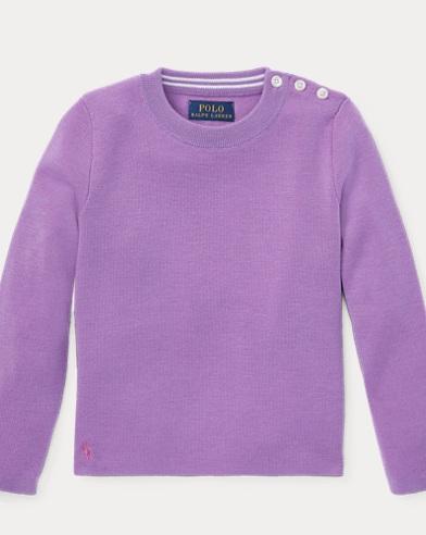 폴로 랄프로렌 여아용 스웨터 Polo Ralph Lauren Contrast-Peplum Wool Sweater,New Hibiscus