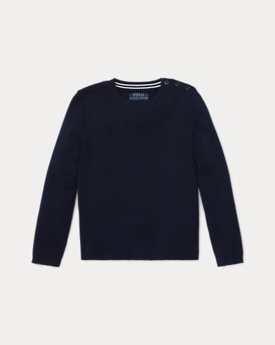 폴로 랄프로렌 여아용 스웨터 네이비 Polo Ralph Lauren Contrast-Peplum Wool Sweater, Hunter Navy