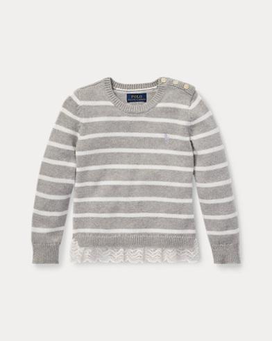 폴로 랄프로렌 여아용 스웨터 라이트 그레이 Polo Ralph Lauren Lace-Trim Striped Sweater,Light Grey Heather