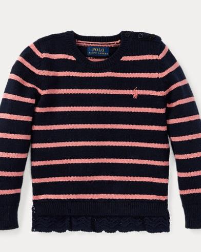 폴로 랄프로렌 여아용 스웨터 네이비 Polo Ralph Lauren Lace-Trim Striped Sweater, Hunter Navy