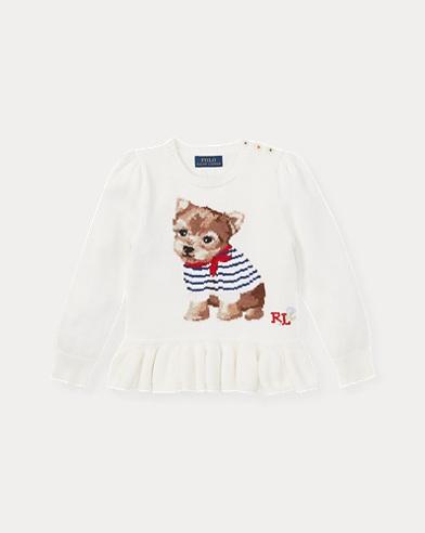 폴로 랄프로렌 여아용 스웨터 크림 Polo Ralph Lauren Intarsia-Knit Peplum Sweater,Trophy Cream