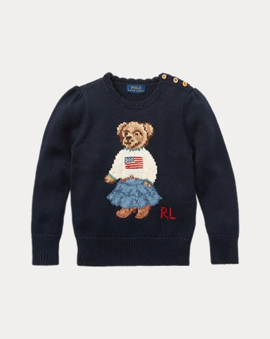 폴로 랄프로렌 걸즈 스웨터 네이비 Polo Ralph Lauren Polo Bear Cotton Sweater,헌터 Hunter Navy