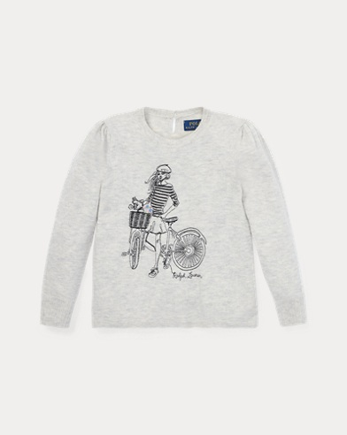 폴로 랄프로렌 여아용 스웨터 그레이 Polo Ralph Lauren Embroidered Wool-Blend Sweater,Oyster Grey